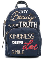Red Valentino Embroidered Backpack Blue