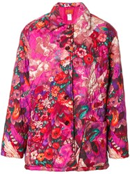 Kenzo Vintage Pegas Print Quilted Coat Pink And Purple