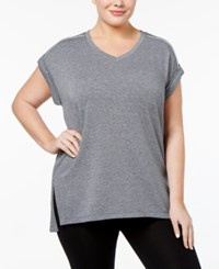 Calvin Klein Performance French Terry V Neck Back Pleat Tunic Black Heather