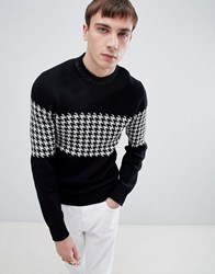 Selected Homme High Neck Knitted Jumper With Houndstooth Stripe Pattern Black