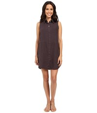 Allen Allen Linen Sleeveless Dress Jet Grey Women's Dress Gray