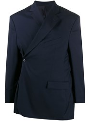 Martine Rose Wrap Front Oversized Blazer Blue