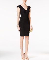 Betsy And Adam Seamed V Neck Dress Black