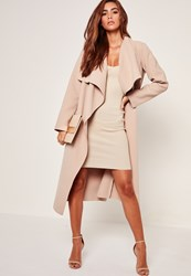 Missguided Oversized Waterfall Duster Coat Nude Camel