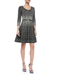 Carmen By Carmen Marc Valvo 3 4 Sleeve Metallic Fit And Flare Dress