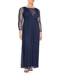 Marina Plus Size Embellished Long Sleeve Gown Navy