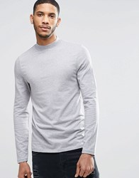 Asos Muscle Long Sleeve T Shirt With Turtleneck In Gray Gray