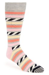 Happy Socks Men's Stripe Cotton Blend Grey Pink