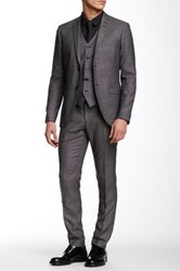 Tiger Of Sweden Jil Birdseye Two Button Notch Lapel Wool Three Piece Suit Gray