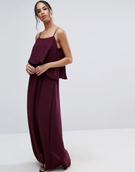 Asos Pretty Double Layer Maxi Dress Oxblood Red
