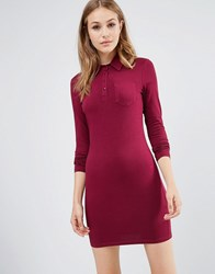 Asos Long Sleeve Polo Shirt Dress Oxblood Red