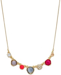 Kate Spade New York Gold Tone Stone And Crystal Frontal Necklace Multicolor