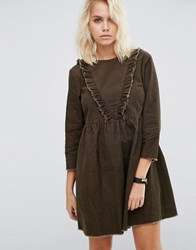Asos Cord Smock Dress With Ruffle Detail In Forest Green Green