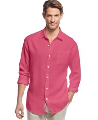 Tommy Bahama Big And Tall Men's Sea Glass Breezer Linen Shirt Ruby Red