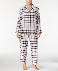 Alfani Plus Size Printed Flannel Pajama Set Only At Macy's Pink Plaid