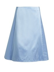 Nina Ricci A Line Silk Duchess Satin Skirt Light Blue