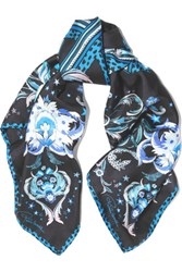 Roberto Cavalli Galaxy Garden Printed Silk Scarf Midnight Blue