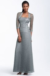 Women's Js Collections Metallic Lace Gown And Bolero