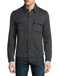 Billy Reid Darryl Button Front Shirt Jacket Dark Gray