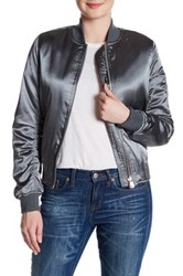 Topshop Shiny Bomber Jacket Gray