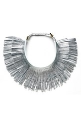 Women's Hayden Harnett 'Ilaria' Leather Fringe Collar Necklace Silver Crackle