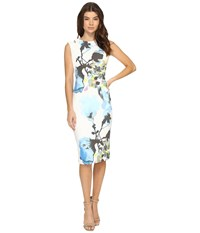 Christin Michaels Opal Floral Print Midi Dress With Shoulder Detail Blue Ivory Women's Dress Gray