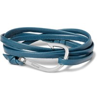 Miansai Hook Leather And Silver Tone Wrap Bracelet Teal