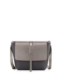 Small Matte Metallic Flap Messenger Bag With Monili Graphite Grey Brunello Cucinelli
