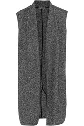 Vince Mixed Media Wool And Cotton Blend Boucle Vest Black