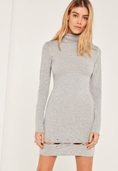 Missguided Grey Lace Up Hem Bodycon Dress