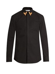 Givenchy Tipped Collar Cotton Shirt Black