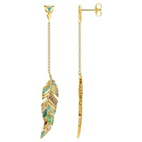 Thomas Sabo 18Ct Gold Tropical Long Feather Earrings Gold