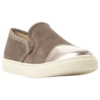 Steve Madden Emuse Flat Heeled Slip On Trainers Grey Leather