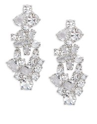 Kate Spade Clink Of Ice Linear Floral Earrings Silver