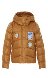 Post Card Patch Puffer Coat Gold