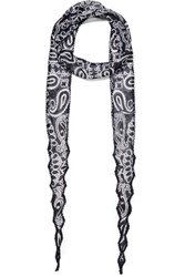 Chan Luu Beaded Printed Georgette Scarf Blue