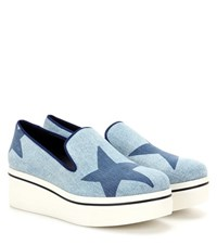 Stella Mccartney Binx Denim Platform Slip On Sneakers Blue