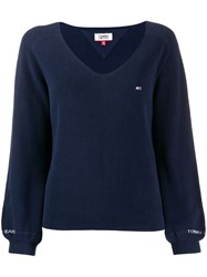 Tommy Jeans Embroidered Jumper Blue