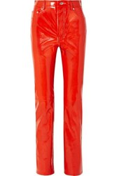 Helmut Lang Patent Leather Straight Leg Pants Red