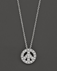 Roberto Coin 18K White Gold And Diamond Peace Sign Necklace 16 No Color