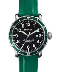 48Mm Runwell Sport Watch With Rubber Strap Green Shinola Silver