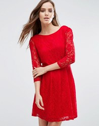 Pussycat London Lace Skater Dress Red