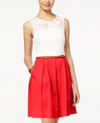 Amy Byer Bcx Juniors Lace Belted A Line Dress Ivory Coral