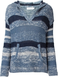 Velvet Striped Hooded V Neck Sweater Blue