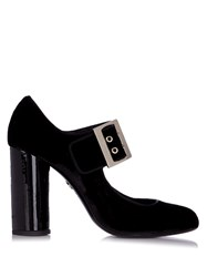 Lanvin Buckle Detail Velvet Pumps Black
