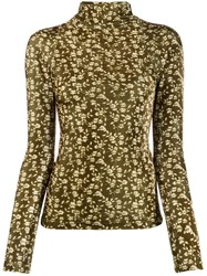 Dodo Bar Or Rollneck Floral Slim Fit Sweater Green