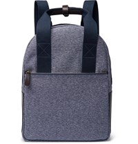 The Workers Club Leather Trimmed Canvas Backpack Blue