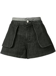 Opening Ceremony Inside Out Denim Shorts Women Cotton 2 Black