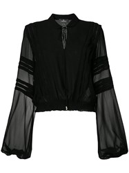 Capucci Long Sleeve Sheer Blouse Black