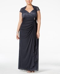 Betsy And Adam Plus Size Sequined Lace Draped Gown Steel